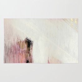 Sunrise [2]: a bright, colorful abstract piece in pink, gold, black,and white Rug