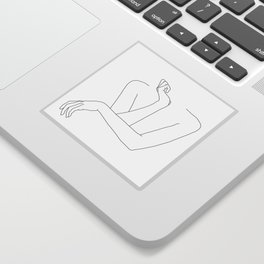 Minimal line drawing of woman's folded arms - Anna Sticker