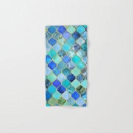 Cobalt Blue, Aqua & Gold Decorative Moroccan Tile Pattern Hand & Bath Towel