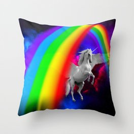 Unicorn & Rainbow Throw Pillow