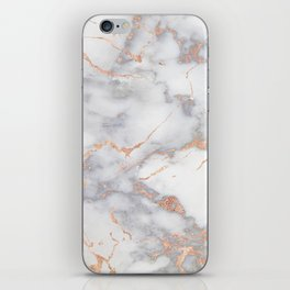Gray Marble Rosegold  Glitter Pink Metallic Foil Style iPhone Skin