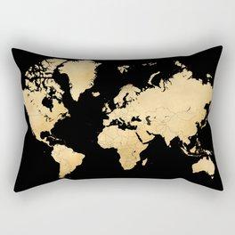 Sleek black and gold world map Rectangular Pillow