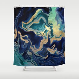 DRAMAQUEEN - GOLD INDIGO MARBLE Shower Curtain