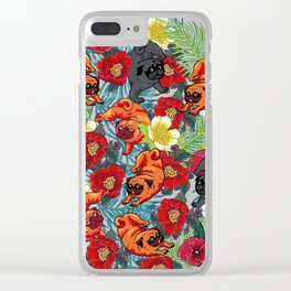 Pugs and Spring Floral Clear iPhone Case
