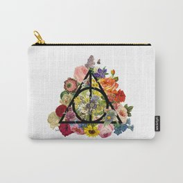 Floral Deathly Hallows - Black Carry-All Pouch