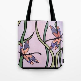dragonflies in  a pastel color background Tote Bag