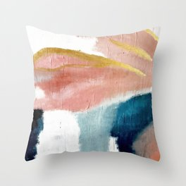 Exhale: a pretty, minimal, acrylic piece in pinks, blues, and gold Throw Pillow