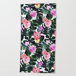 Lush Tropical Floral Beach Towel