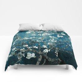 Van Gogh Almond Blossoms : Dark Teal Comforters