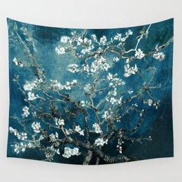 Van Gogh Almond Blossoms : Dark Teal Wall Tapestry