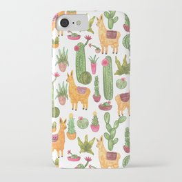 watercolor alpaca clique with cacti and succulents iPhone Case