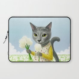 A cat sitting in the flower garden Laptop Sleeve
