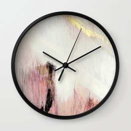 Sunrise [2]: a bright, colorful abstract piece in pink, gold, black,and white Wall Clock