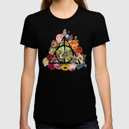 Floral Deathly Hallows - Black T-shirt