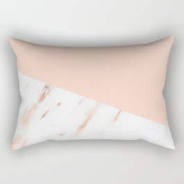 Pink Quartz and White Marble Rose Gold Rectangular Pillow