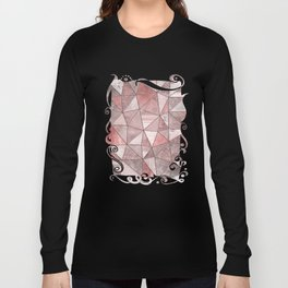 Soft Pink Glamour Gemstone Triangles Long Sleeve T-shirt