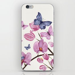 Flowers and butterflies iPhone Skin
