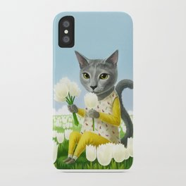 A cat sitting in the flower garden iPhone Case