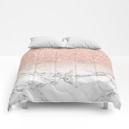 Modern faux rose pink glitter ombre white marble Comforters
