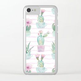 Cute Potted Cacti Stripe Pattern Clear iPhone Case