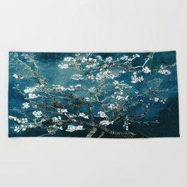 Van Gogh Almond Blossoms : Dark Teal Beach Towel