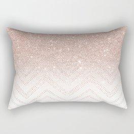 Modern faux rose gold glitter ombre modern chevron stitches pattern Rectangular Pillow