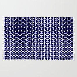 Maritime Nautical Blue and White Small Anchor Pattern Rug