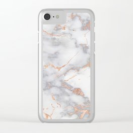 Gray Marble Rosegold  Glitter Pink Metallic Foil Style Clear iPhone Case