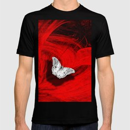 Silver butterfly emerging from the red depths T-shirt