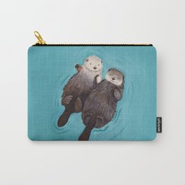 Otterly Romantic - Otters Holding Hands Carry-All Pouch