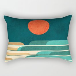 Chasing wave under the red moon Rectangular Pillow