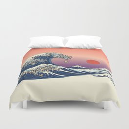The Great Wave of Pug Duvet Cover