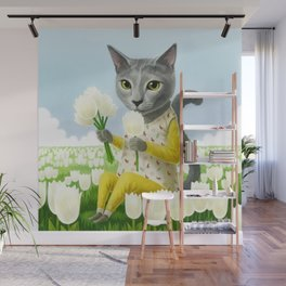 A cat sitting in the flower garden Wall Mural