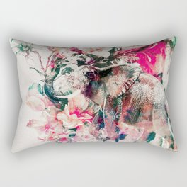 Watercolor Elephant and Flowers Rectangular Pillow