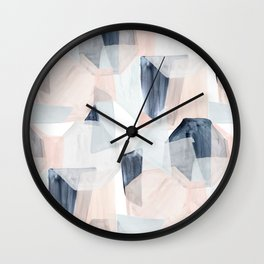 Abstract Shapes Blush + blue by Crystal Walen Wall Clock