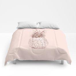 Rose Gold Pineapple on Blush Pink Comforters