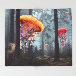 ElectricJellyfish Worlds in a Forest Throw Blanket