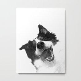 Black and White Happy Dog Metal Print