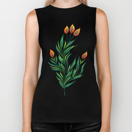 Abstract Green Plant With Orange Buds Biker Tank