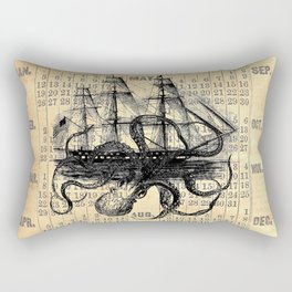 Octopus Kraken attacking Ship Antique Almanac Paper Rectangular Pillow