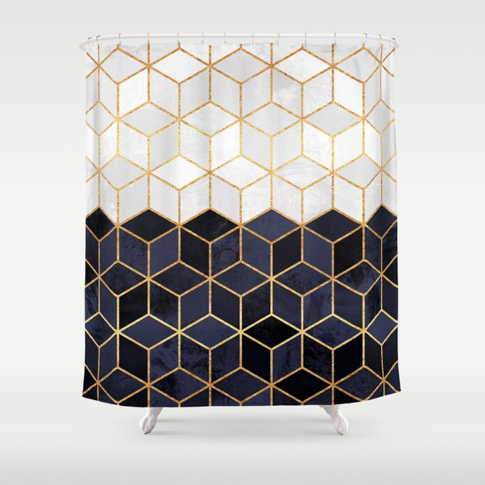 White & Navy Cubes Shower Curtain