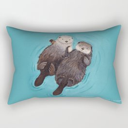 Otterly Romantic - Otters Holding Hands Rectangular Pillow