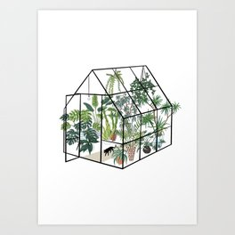 greenhouse with plants Art Print