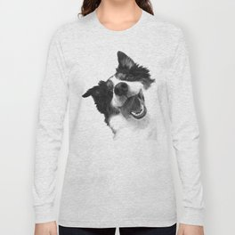 Black and White Happy Dog Long Sleeve T-shirt