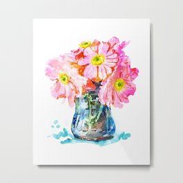Watercolor Flower Pot Metal Print