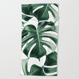 Tropical Monstera Leaves Dream #2 #tropical #decor #art #society6 Beach Towel
