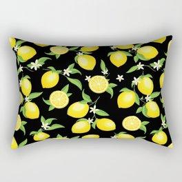 You're the Zest - Lemons on Black Rectangular Pillow