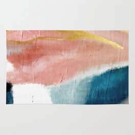 Exhale: a pretty, minimal, acrylic piece in pinks, blues, and gold Rug