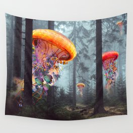 ElectricJellyfish Worlds in a Forest Wall Tapestry