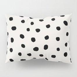 Modern Polka Dots Black on Light Gray Pillow Sham